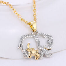 New Fashion Womens Chic Crystal Charm Mom & Baby Elephants Pendant Necklace