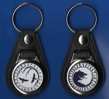 2 ROUND FOB KEYRING s YGGDRASIL NORSE WOLF