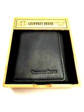 Black Leather Men's Trifold Wallet + Valet Tray - by Geoffrey Beene - NEW Gift