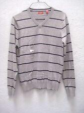 Nwt Gray w Black Stripes Izod V Neck Sweater Men's Size Small; Long Sleeve Izod