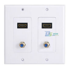 New Wall Face Plate Panel Home Outlet Adapter White 2 HDMI Socket 2 F type Coax