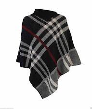 Ladies warm High neck Tartan Poncho women Knitted Wrap Cape Shawl Plus size 8-26