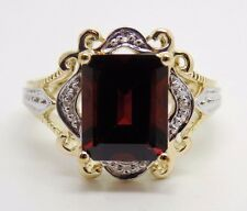 2.8 Ct. Natural Garnet & Diamond Ring in 10k Solid Gold - NEW Two-Tone GR