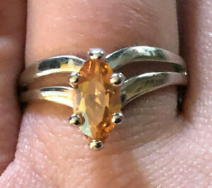 Sterling Silver Ring CZ Champagne Peach Marquise Chevron Sz 8 2.9g 925 #1256