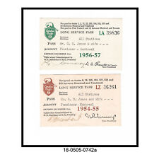 Two Canadian Pacific Railroad Employees Long Service Passes	(1954-57)