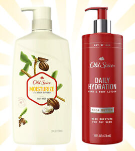 Old Spice Men's Daily Hydration Shea Butter Hand & Body Lotion & Body Wash Set