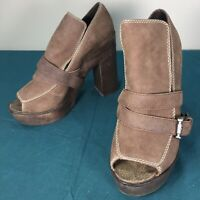 Used Joie Brown Leather Open Toe Womens Stacked Wooden Heels sz 40