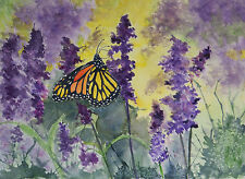 Monarch & purple wildflower print on linen card stock of original oil   painting