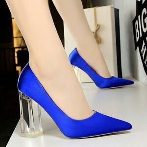 Chunky Crystal Heels Pumps Plus Size White Satin Wedding Date Crossdresser Shoes