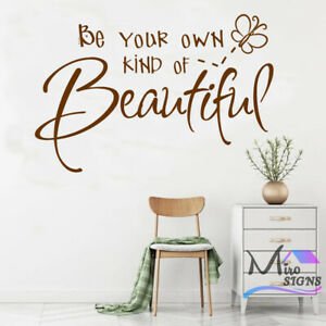 Butterfly Quote Be Your Own Kind Of Beautiful Wall Sticker Nursery Bedroom