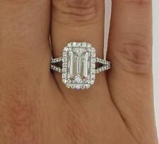 2.25 Ct Halo Split Shank Emerald Cut Diamond Engagement Ring SI1 F White Gold