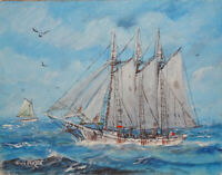 Listed Maine Artist Bill Paxton Nautical Oil Painting Schooner in Gulf of Maine