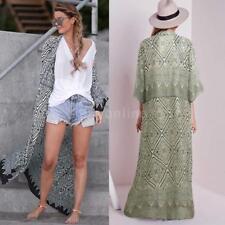 Plus Size Women Summer Boho Long Blouse Kimono Cardigan Beach Cover Up P7W1