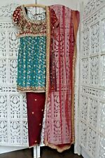 Blue & maroon brocade & silk churidaar suit preloved Size UK 6 EU 32 Sku16097