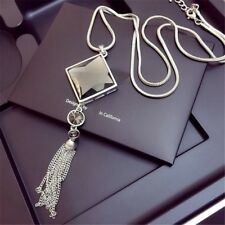 Women Pendant Necklace Square Big Drop Crystal Long Tassel Sweater Chain Jewelry