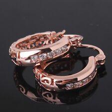 18K rose gold filled white sapphire gorgeous COOL hoop Glamorous earring