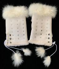 White FINGERLESS Gloves/Mittens RABBIT FUR SUEDE RHINESTONES