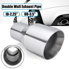 Stainless Exhaust Tip Double Wall Slant 2.25'' Inlet 3.5'' Outlet 7'' Universal