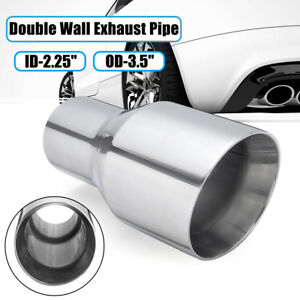 2.25'' Inlet 3.5'' Outlet Exhaust Tip Pipe Double Wall Slant Stainless Steel