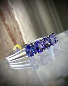 NEW Premium Grade, Natural Tanzanite 5-Stone Band Ring, High Polish Platinum Sz5