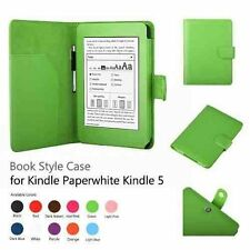 """Green Wallet Book Style Leather Case Cover for Amazon Kindle Paperwhite 6"""" Inch"""