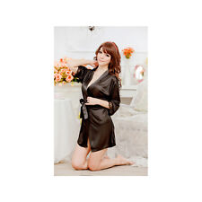 Woman's Satin Lace Robe & G - String / Size S - Black