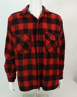 Vintage Sears The Mens Store Buffalo Plaid Flannel Shirt Red Black Mens Large