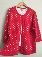 CJ BANKS Women 100% Cotton CARDIGAN SWEATER Polka Dot Red White Size 2X  Buttons