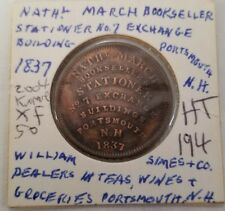 1837 us hard times token william dimes & n March HT-194