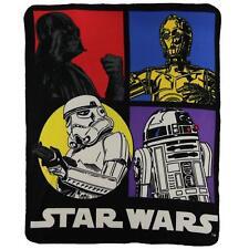"Star Wars Classic Fleece Blanket 50"" x 60"" NEW Darth Vader C3PO R2D2 Storm Troop"