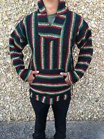 Hoodie Baja,Surfer Mexican Poncho Sweater Rasta mix,choose size,3XL,2XL,Xl,L,M,S