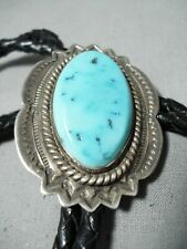 EXCEPTIONAL VINTAGE NAVAJO SLEEPING BEAUTY TURQUOISE STERLING SILVER BOLO OLD