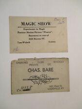 Original Magician'S Advertisement / Card 1940'S 50'S. Louisville Magic. Lot #2