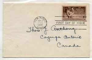 USA = Postal History, 1948 Poultry Industry Cent`y Plain FDC to CANADA address.