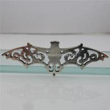 12328 5PCS Alloy Vintage Silver Tone Hollow Bat Pendant Connector