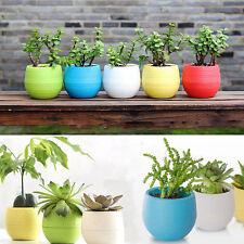 Mini Colourful Round Plastic Plant Flower Pot Home Garden Office Decor Planter