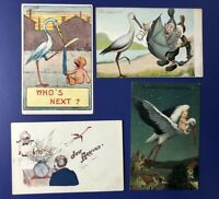 4 Nice Stork & Babies Birth Announcements Antique Postcards For Collectors 1900s