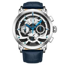 Stuhrling 926 01 Monaco Andover Chronograph Date Blue Leather Mens Watch