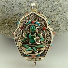 Tibetan Buddhist Silver Gau Ghau Shrine Prayer Box Pendant from Patan, Nepal
