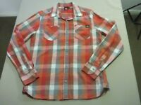 088 MENS NWOT QUIKSILVER RUST / WHITE / GREY CHECK L/S SHIRT SZE SML $90 RRP.
