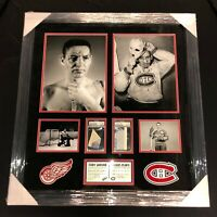 JACQUES PLANTE & TERRY SAWCHUK SIGNED CANADIENS RED WINGS FRAMED PIECE PSA/DNA