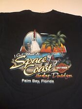 "Harley Davidson SPACE COAST ""Palm Bay, Florida"" Palm Tree SPACE SHUTTLE T Shirt"