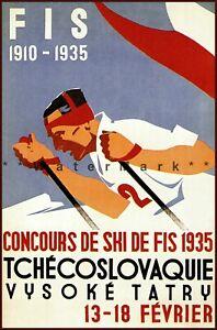 Ski Czechoslovakia 1935 Ski De FIS Vintage Poster Print Retro Art Winter Sports