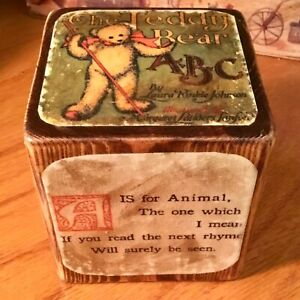 """HANDCRAFTED 3.5"""" LARGE WOODEN BLOCK IMAGES FROM 1907 TEDDY BEAR ABC BOOK"""