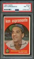 1959 Topps BB Card #424 Ken Aspromonte Washington Senators PSA NM-MT 8 !!