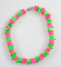Puka Shell Anklet With Barrel Clasp #A127 New Bright Neon Pink & Green Chipped