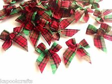 "50 PLAID RED & GREEN MINI RIBBON BOW 1"" TRIM CHRISTMAS CARD SCRAPBOOK GIFT CRAFT"