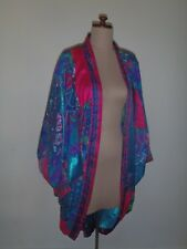 VINTAGE RETRO KIMONO, 80s PATCHWORK, SILK BLEND, LARGE SLEEVES, UNIQUE