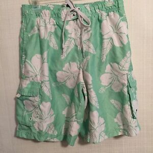 OP Size Med Swim Trunks Light Green and White Tropical Hibiscus Board Shorts