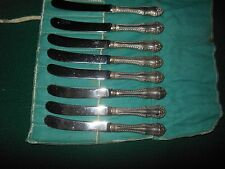KNIFE SET OF 8 BIRKS GADROON BUTTER KNIVES w/ STERLING SILVER HANDLES NO MONO